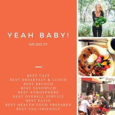 Thank you. WE WON!! We simply are so honoured to be voted by our fans all over. We had to double check the results and we were blown away.  BEST CAFE BEST BREAKFAST, BRUNCH AND LUNCH BEST SANDWICH!! BEST Atmosphere BEST OVERALL SERVICE BEST VEG-Friendly BEST HEALTH FOOD-PREPARED BEST Outdoor Patio #eatbetter #plantpower #vegan