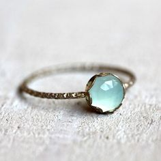 Gemstone ring - blue chalcedony ring