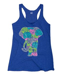 Look at this #zulilyfind! Royal Blue Floral-Elephant Racerback Tank by Cotton Jungle #zulilyfinds