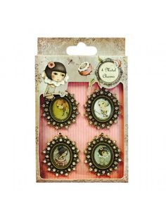 Brads and Cameos Santoro Metal Charm Cameos. 4 antique inspired metal charms featuring the Mirabelle characters. The charms are finished with diamante trims to add some sparkle to your projects.