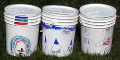 Camping Activity buckets! not only storage but a seat as well, make a cushion for the top and store inside.