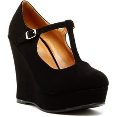 Top Guy Am Mary Jane Wedge ($20) ❤ liked on Polyvore featuring shoes, black, maryjane shoes, platform wedge shoes, round toe shoes, black shoes and black wedge shoes