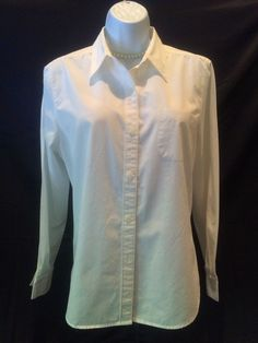 Womens Blouse Solid White Button Up Collared New York Jeans Size M Long Sleeve #NewYorkJeans #Blouse