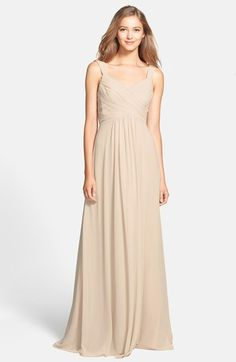 ML Monique Lhuillier Bridesmaids Cowl Back Chiffon Gown available at #Nordstrom