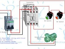 Contactor wiring guide for 3 phase motor with circuit breaker single phase motor contactor wiring diagram in urdu hindi ccuart Choice Image