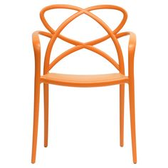 Showcasing an openwork design and orange finish, this eye-catching arm chair brings a pop of style to your living room or den.  Prod...