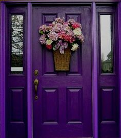 PURPLE Front Door with flat side of a Basket with added fabric or silk  ( or real ) , Flowers.  LARGE PHOTO