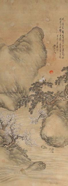 Chinese hanging scroll Landscape painting Written on silk Wall art hsky1-135
