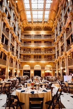 The George Peabody Library, formerly known as the Library of the Peabody Institute of the City of Baltimore, is the focused research library of The Johns Hopkins University. Library Wedding, Wedding Book, Wedding Places, Wedding Locations, Plan My Wedding, Dream Wedding, Trendy Wedding, Wedding Ideas, Party