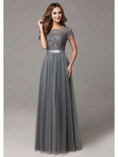 Gray Lace Tulle Floor Length Short Sleeves Sheer Neckline Bridesmaid Dress