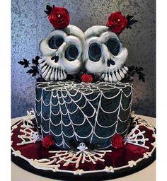 Gâteau d'Halloween : la décoration avec des crânes