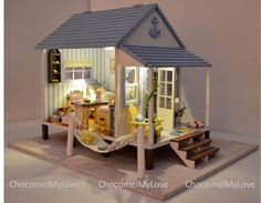 Beach Cottage Dollhouse 1:24 Miniature Diy Kit With Led Lights, Furniture…