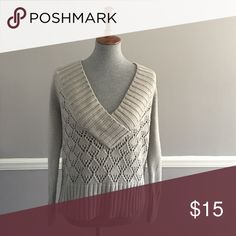 Wide Collar V Neck Sweater V neck grey sweater with gold flecks. Chunky trim (neck, waist, and wrists). Super cute with jeans and heels for any occasion! Worn just a few times. No pulls or stains. Nine West Sweaters V-Necks