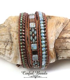 LEATHER WRAP BRACELET-Boho Leather Wrap-Superduo-Firepolish-Tiles-Blue Luster-Triple Wrap Bracelet-Beaded Leather Wrap-Wrap Bracelet-(TW34) by CinfulBeadCreations on Etsy