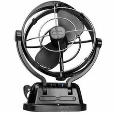 The Caframo Sirocco 7 inch fan features a gimbaled frame to provide airflow in any direction. It draws less than 1 Amp from the battery and has a battery saving timer that can be set for or 12 hours. Rv Accessories, Rv Camping, Backpacking, Camping Essentials, Vw Bus, Black 7, Van Life, Caravan, Backpacker