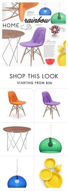 """""""Rainbow Home"""" by totwoo ❤ liked on Polyvore featuring interior, interiors, interior design, home, home decor, interior decorating, Zuo, Kartell, Fiesta and Kate Spade"""