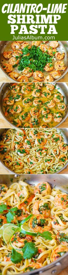 Cilantro-Lime Shrimp Pasta - it's just like shrimp scampi but with cilantro and lime! #SUMMER