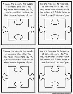 Teacher Handout: You are a piece to the puzzle
