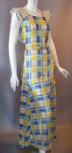 1930s plaid voile cotton gown - love the flutter sleeves via DCV archives