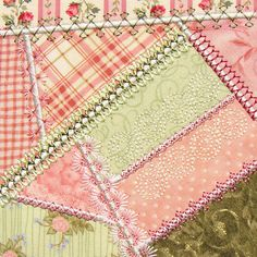 Another lovely example of how to embellish a crazy quilt with your sewing machine's decorative stitches ...