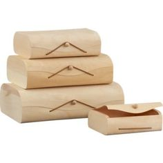 These stacking birch storage boxes are nice in that you can display them together, or put them to practical use in the rooms in which they are needed.  I could see storing costume jewelry in one.