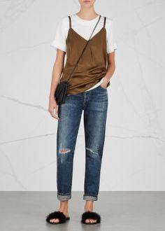 Liya indigo distressed boyfriend jeans