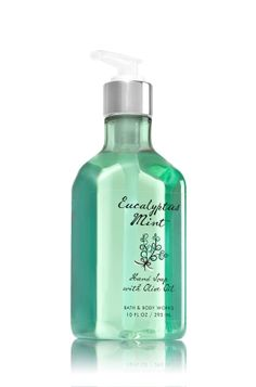 Eucalyptus Mint - Hand Soap with Olive Oil - Bath & Body Works - Get ready for soft, clean hands! Specially formulated with rich, conditioning Olive Oil, our luxury hand soap nourishes skin and leaves your hands feeling soft, smooth and lightly scented. Plus, a beautiful bottle adds a touch of d�cor at your sink.