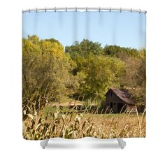 "Rustic Escape Shower Curtain for sale by Inspired Arts.  This shower curtain is made from 100% polyester fabric and includes 12 holes at the top of the curtain for simple hanging.  The total dimensions of the shower curtain are 71"" wide x 74"" tall."