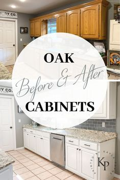 Kitchen Cabinets In Alabaster - Painted by Kayla Payne Bye bye golden oak, hello to a brighter kitchen! Kitchen Cabinets In Alabaster - Painted by Kayla Payne Bye bye golden oak, hello to a brighter kitchen! Honey Oak Cabinets, Kitchen Cabinet Remodel, Diy Kitchen Remodel, Farmhouse Kitchen Cabinets, Kitchen Cabinetry, Kitchen Redo, Refinished Kitchen Cabinets, Kitchen Taps, Island Kitchen