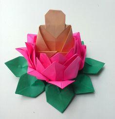 Origami  lotus  flower  with  Buddha