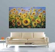 24X36-Modern-Art-Oil-Painting-sunflower-Wall-Decor-canvas-no-frame