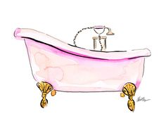Pink Tub - Watercolor Beauty Illustration Art Print by KaraEndres on Etsy https://www.etsy.com/listing/197183841/pink-tub-watercolor-beauty-illustration