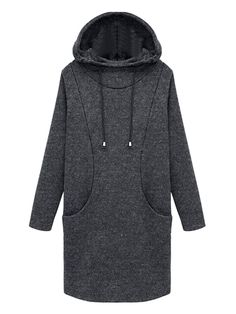 Gray Loose Long Sleeve Padded Hooded Dress