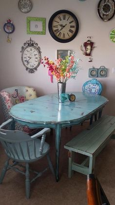 Beautiful refinished and antiqued kitchen table Utah Reclaimologists and other crafty chicks Mandy