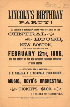 Lincoln's Birthday Party. From Duke Digital Collections. Collection: Emergence of Advertising in America. price lists just ticket price