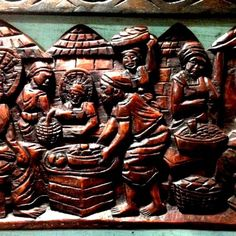 AFRICAN VILLAGE SCENE EBONY WOOD, HAND CARVED WALL DECOR,