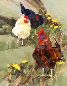 Pecking Order a Painting by Vermont Artist Peter Huntoon