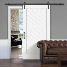 Jeff Lewis 42 in. x 84 in. White Collar 1 Panel Herringbone MDF Barn Door with Sliding Door Hardware Kit 73575 at The Home Depot - Mobile