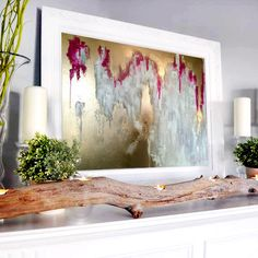 Abstract large gold Painting Gold wall art by AlexandraTheGallery