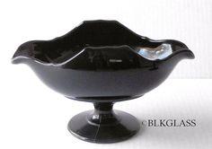 Paden City Black Glass Footed Compote Bowl - Mrs B Distinctive Shape- Banana #PadenCity