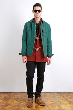 BAND OF OUTSIDERS Work Shirt, BOGLIOLI Toggle Scarf, PAUL SMITH Cardigan, ACNE Tee, ACNE Chinos, GREEN GEORGE Boots, LINDA FARROW X KRIS VAN ASSCHE Sunglasses