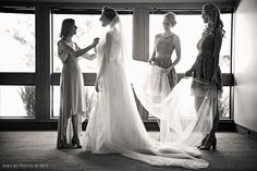 Getting ready in the Visitor Center. wedding by Lola Jo Photo, Wichita. Indoor Wedding Receptions, Wedding Ceremony, Wedding Venues, Wedding Photos, July Wedding, The Visitors, Beautiful Space, Kansas, One Shoulder Wedding Dress