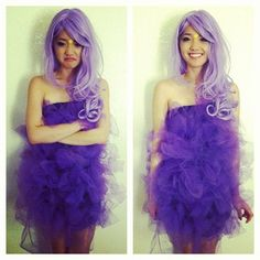 I want to do a pink version of this with little ears so that I can be a pygmy puff for Halloween!!