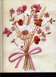 """""""petit bouquet""""embroidery(chart incl.) from: """"BURDA"""" 1974-08"""
