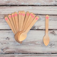 NEW! Valentine Pink Heart Mini Wooden Spoons shoptomkat.com