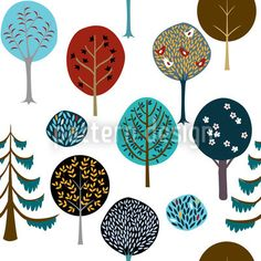 Cute seamless pattern with winter forest designed by Natalie Singh, available on patterndesigns.com