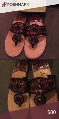 Pink/Purple Jack Rogers Brand new and never before worn!  Size 7.5.  Pink/purple leopard classic sandals.  Just in time for the warm weather!  Come with box. Jack Rogers Shoes Sandals