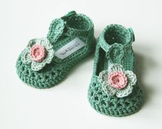 IDA Baby Girl Shoes Crochet Cotton Baby Booties Green Mint