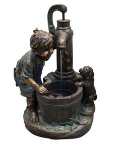 Alpine Boy at Well Fountain with LED Light - GXT468 - Welcome to Yardify