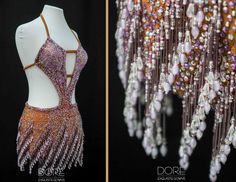 Nude Latin with Purple Beaded Fringe and Stone Work